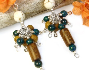 Jasper Cluster Earrings, Wood Gemstone Earrings, Gemstone Cluster Earring, Organic Tribal Jewelry, Long Boho Dangle Earrings Unique Handmade
