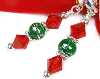Red Green Holiday Earrings, Sparkly Christmas Earrings, Crystal Christmas Earrings, Holiday Dangles, Christmas Jewelry, Fun Party Earrings
