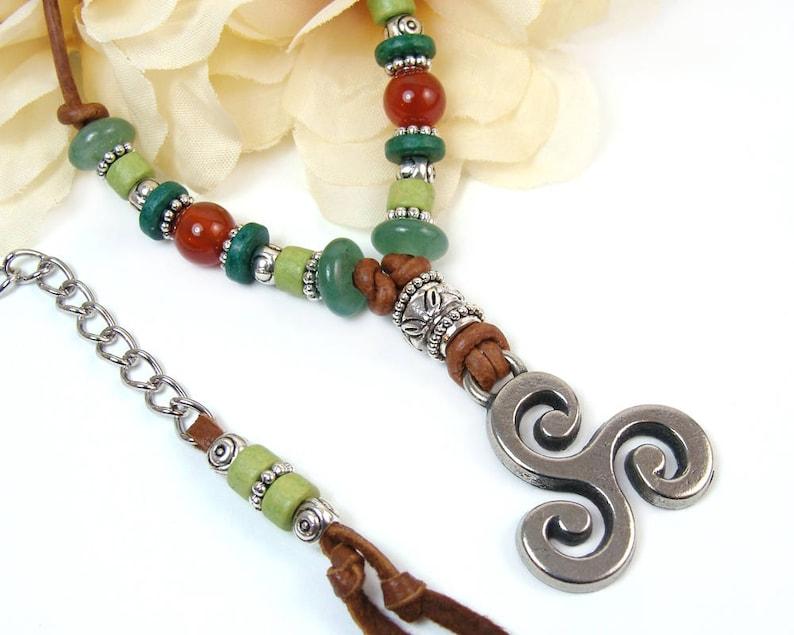 Celtic Necklace Boho Leather Necklace Celtic Statement image 0