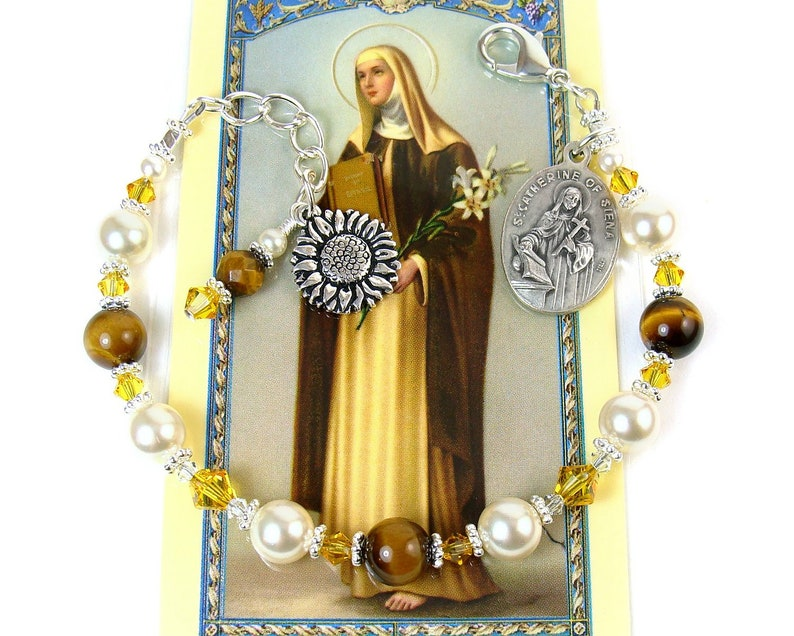 St. Catherine of Siena Rosary Bracelet St. Catherine Chaplet image 0
