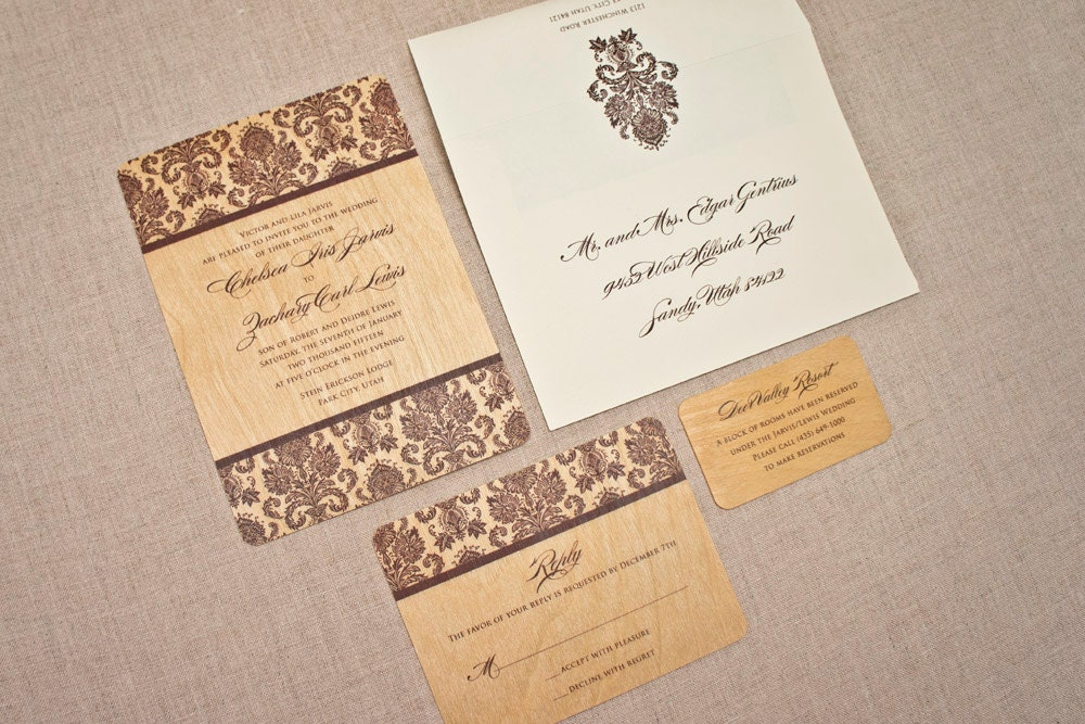 Real Wood Wedding Invitations: Real Wood Wedding Invitation Elegant Damask
