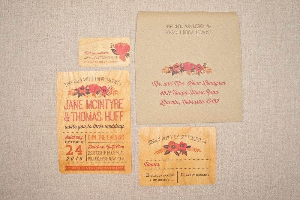 Real Wood Wedding Invitations: Wedding Invitations On Real Wood Fall Flower Charm