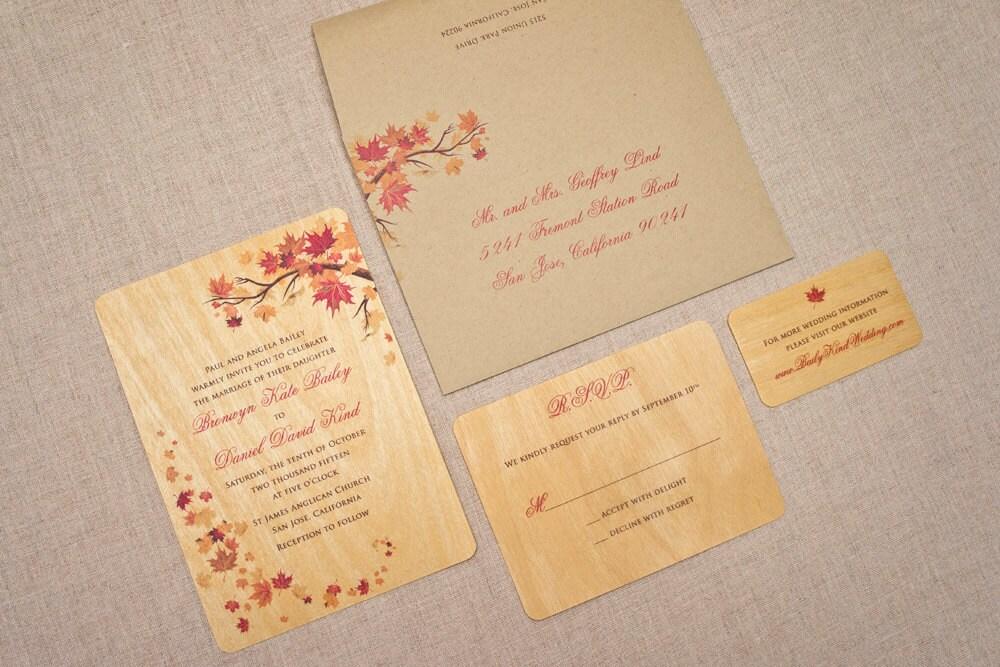 Real Wood Wedding Invitations: Real Wood Wedding Invitations Fall Maple Leaves