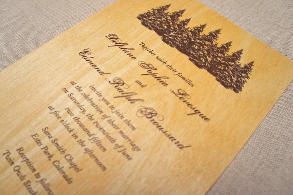 Real Wood Wedding Invitations: Real Wood Wedding Invitations Pine Trees