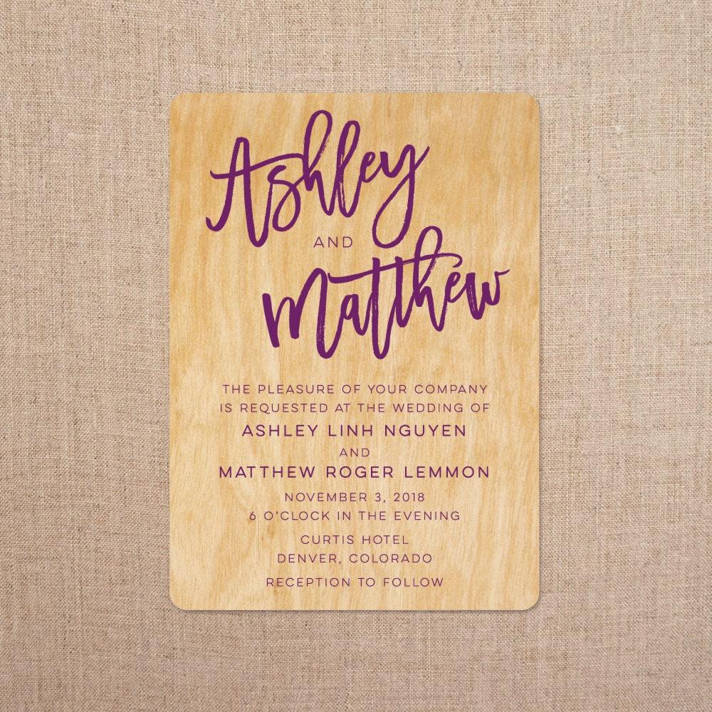 Real Wood Wedding Invitations Brush Lettering