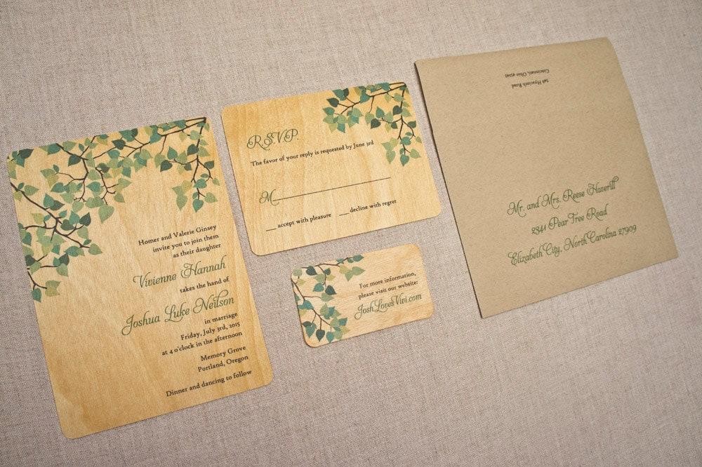 Real Wood Wedding Invitations: Real Wood Wedding Invitations Spring Green Leaves