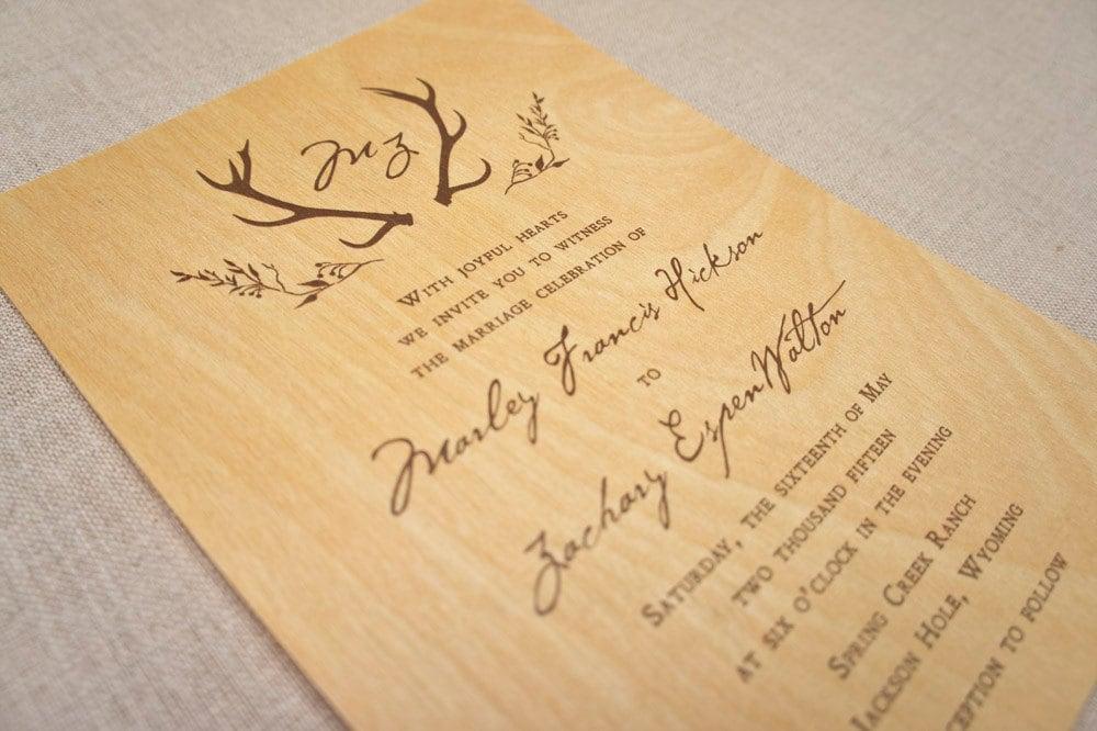 Real Wood Wedding Invitations: Real Wood Wedding Invitations Rustic Antlers