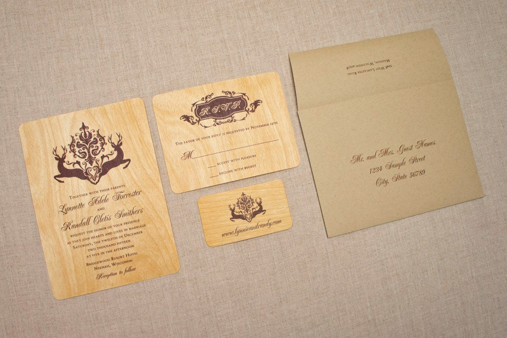 Real Wood Wedding Invitations: Real Wood Wedding Invitations Deer Damask