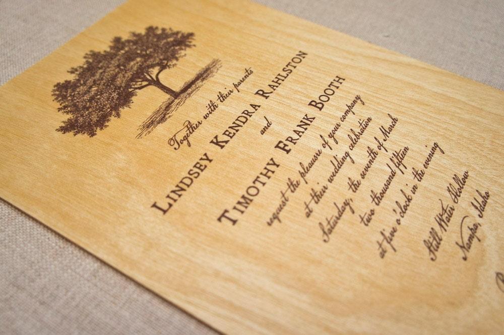 Real Wood Wedding Invitations: Real Wood Wedding Invitations Sprawling Tree