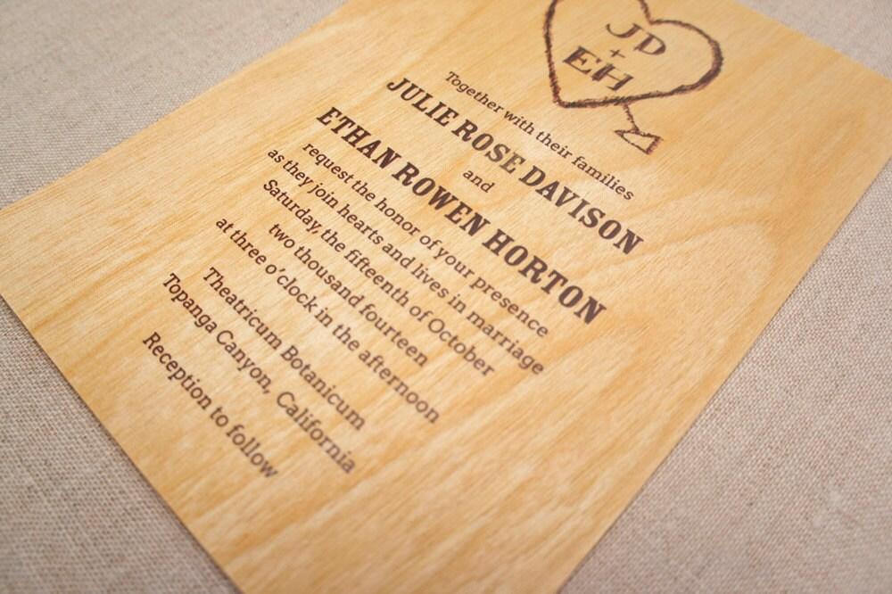 Real Wood Wedding Invitations: Real Wood Wedding Invitation Carved Heart