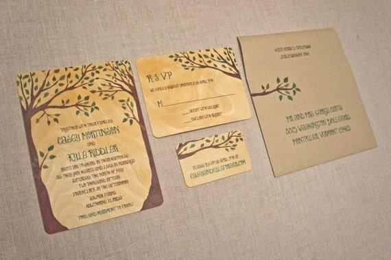 Real Wood Wedding Invitations: Wedding Invitations On Real Wood Pair Of Trees