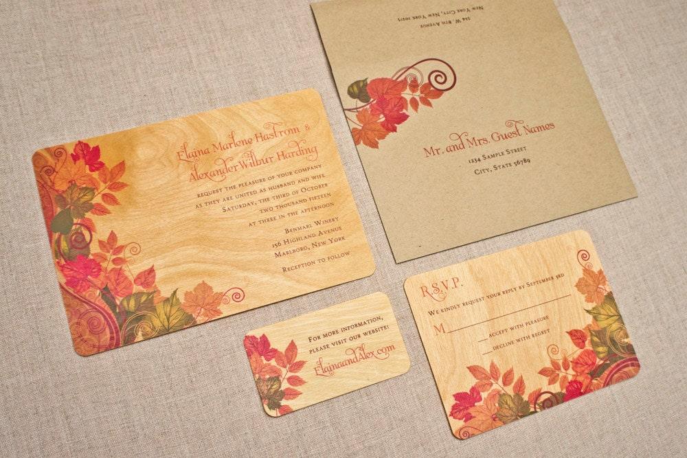Real Wood Wedding Invitations: Real Wood Wedding Invitations Fall Leaves Swirl