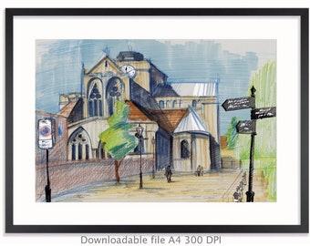 Romsey Abbey DOWNLOADABLE digital art print, wall decor, interior decor, artwork