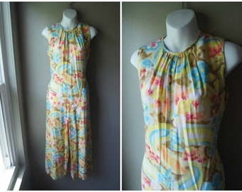 8442f57a2a7b Vintage 70 s Watercolor Jumpsuit Yellow Wide Leg Jump Suit Studio 54 Resort  Vacation Small Medium Sleeveless Cotton Floral Boho Bohemian