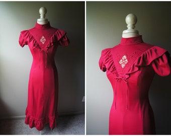 131ec557c256 Vintage 70 s Victorian Maxi Dress Red Long Dress Short Sleeves Small West  World Old West Saloon Bohemian Boho Broom Skirt Ruffle High Neck