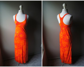 75a405f8a7b0 Vintage 70 s Racerback Maxi Dress Sleevess Mandela Paisley Orange Yellow  Pink Long Dress XS Small Dress Stretchy Acrylic Bohemian Boho
