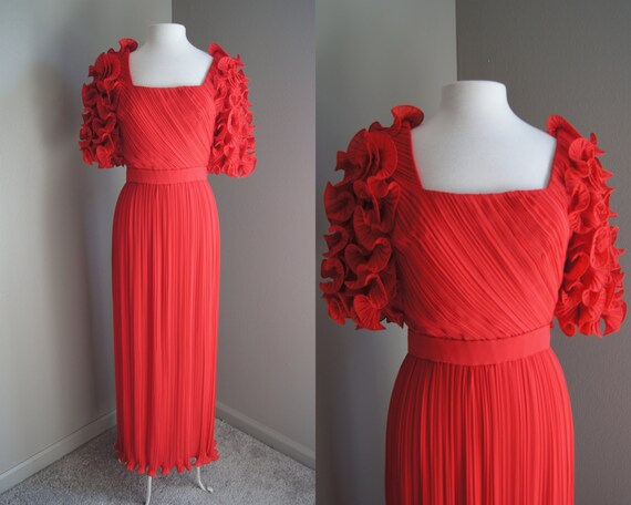 Vintage 60'S ALFRED BOSAND Gown Red Gown Ruffle Go