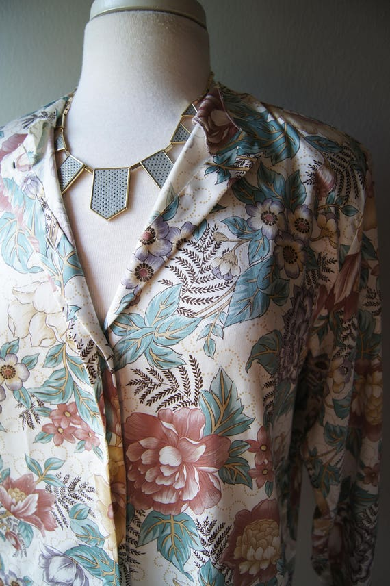 DIANE Polyester Blouse Down Button FURSTENBURG L Size Shirt Medium Floral Work Vintage Ladies Von Pastel Flowers Washable Top Furstenburg 8 fBdqwxW1