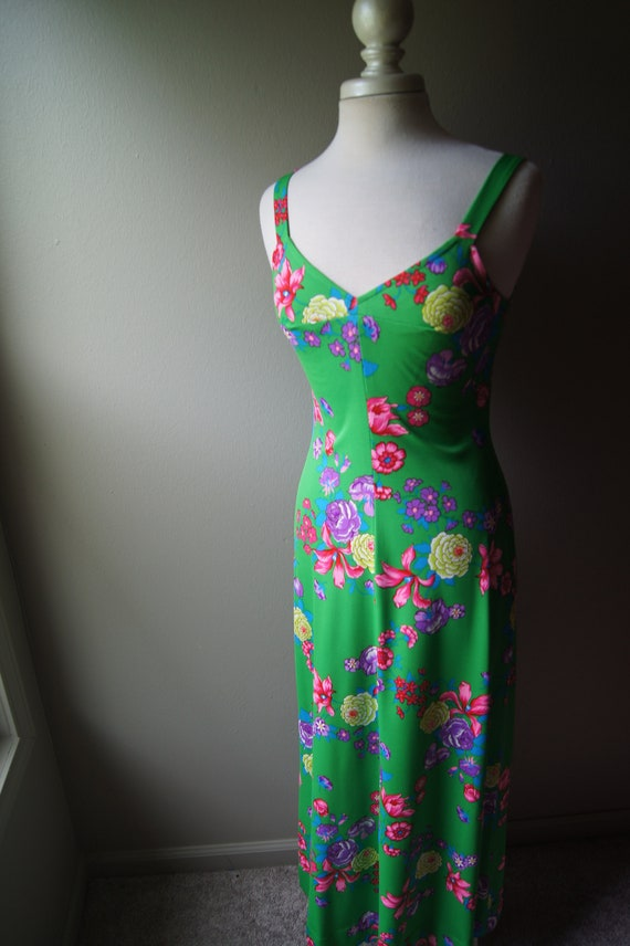 Long Summer Green Straps Boho Stretchy Floor Sleeveless Groovy Dress Spaghetti Small Floral Mod Vintage Length Dress 70's Maxi Neon Bright q8wffS