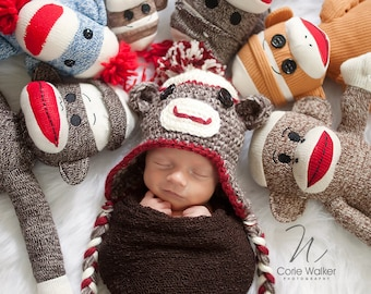 89c786b99f2 Sock Monkey Hat and Diaper Cover