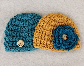 Twins Crochet Hats, Gold and Teal, Flower Hat with Wooden Button, Newborn to 6 Month Photo Prop, Halloween Costume for Twins, Baby Hats