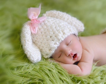 Newborn Lamb Hat, Cream with Floppy Ears, Easter Hat for Baby, Newborn Photo Prop, Detachable Ribbon