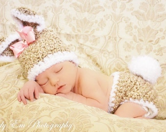 Newborn Bunny Hat and Diaper Cover, Easter Set, Tan with White Trim, Newborn Photo Prop, Spring Sets for Baby, Bunny Hat and Diaper Cover