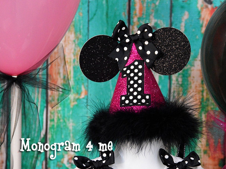Minnie Mouse First Birthday Hat Hot Pink And Black