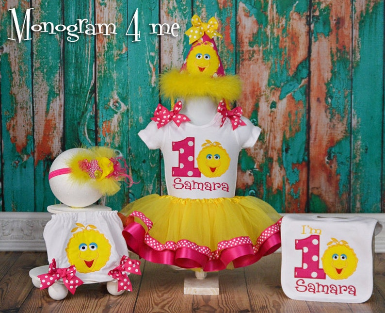Big Bird Birthday Tutu Set Hat Sesame Street