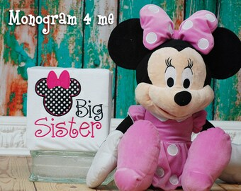 Big Sister Minnie Mouse Shirt, Big Sis Shirt, Girls Sibling shirt
