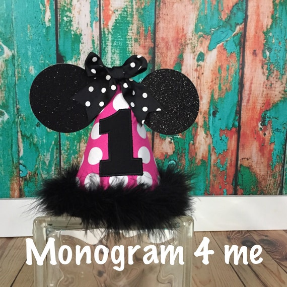 Minnie Mouse Polka Dot Birthday Hat Cap 1st