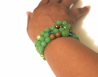 Green Cuff Bracelet, Wire Wrapped Bracelet, Boho Bracelets, elcetic cuff bracelets, ecletic Jewelry, Green Bangle by Tolee