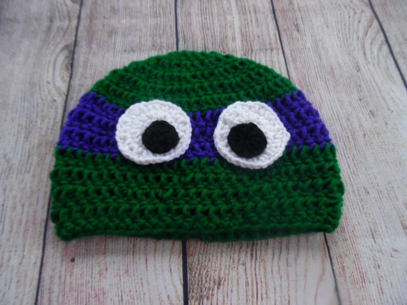 crochet ninja turtle hat child hat winter hat purple mask  65f0b920e0d