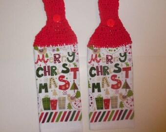 crochet towel, crocheted towels, hanging towel, kitchen towel, christmas towel