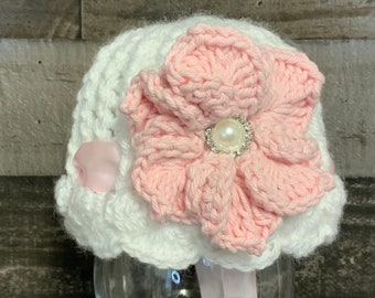 Crochet 3 month size baby hat, crochet baby girl hat, baby bonnet hat photo prop baby shower gift, ready to ship
