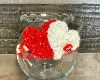Crochet Baby Headband, Photo Prop, Baby Gift, Crochet Red/White, Hearts chevron 0-3 months headband ready to ship