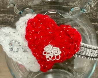 Crochet Baby Valentine Headband, Photo Prop, Baby Gift, Crochet Red/White, Hearts lace victorian 0-3 months headband ready to ship