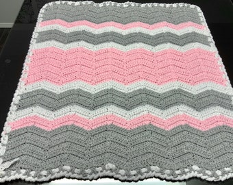Newborn baby blanket, custom crochet chevron pattern, pink gray white chevron