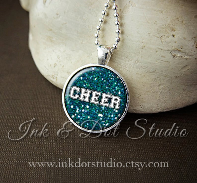 Cheer Cheerleader Necklace Faux Glitter Cheerleading Pendant image 0