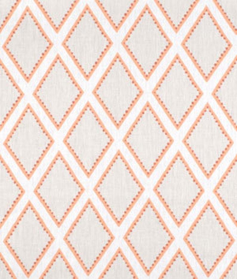 Designer Sarah Richardson Kravet fabric brookhaven coral orange pillow cover taupe beige gray white geo diamond euro sham lumbar solid