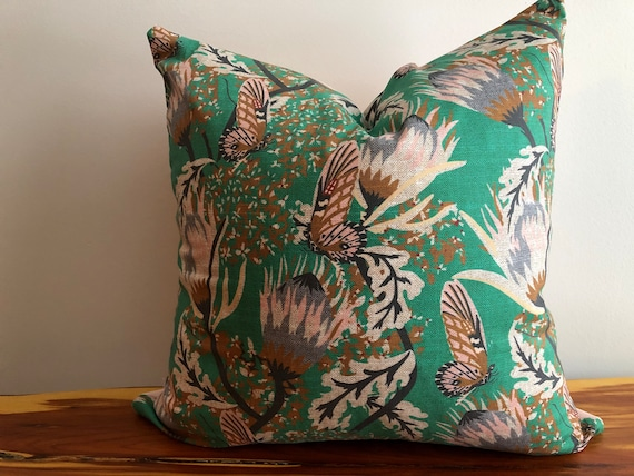 Boho Chic Butterfly Floral Designer Fabric Pillow Cover Green Etsy