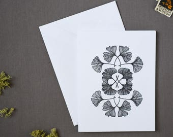 Pack of 6 Letterpress Ginkgo Notecards