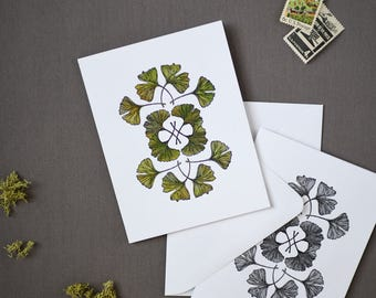 Hand Painted Ginkgo Notecard