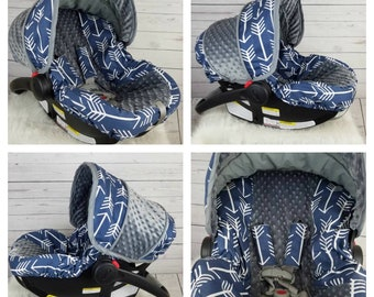 Baby Boy Car Seat Cover Set Navy Arrows Tribal Slipcover