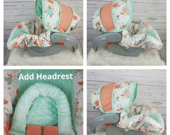 Baby Car Seat Cover Floral With Mint Minky Infant
