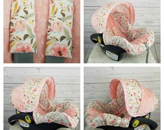Pink And Peach Floral Baby Car Seat Cover