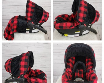 Large Plaid Car Seat Cover Lumberjack Baby Boy Red Custom Order Made For Your