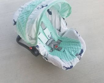 Baby Car Seat Cover Buck Infant Deer Slipcover Mint Minky Canopy Set