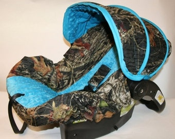 Mossy Oak Infant Car Seat Cover With Blue Minky Custom Order By Baby Covers Jill