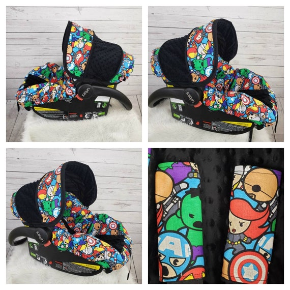 Car Seat Canopy//Car Seat Cover Elephant and Minky 5 Piece Car Seat Set for Graco